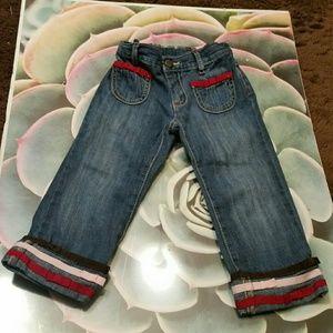Gymboree blue jeans w cute trim, 2T girl